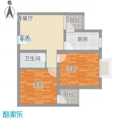 中悦水晶城2-a户型2室1厅1卫1厨