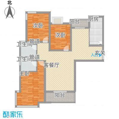 中悦水晶城3-B户型3室2厅2卫