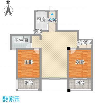 铭筑高第121.00㎡5-10层面图户型2室2厅1卫1厨