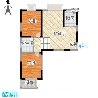 翡翠湾花园14.00㎡B2户型3室2厅2卫1厨
