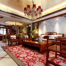 中式中式风格客厅四居案例展示