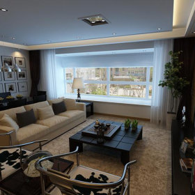 中式客厅吊顶窗帘装修图