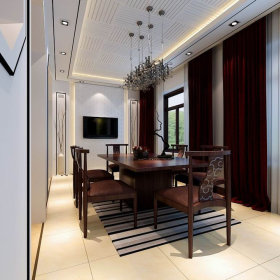 中式餐厅吊顶窗帘设计案例展示