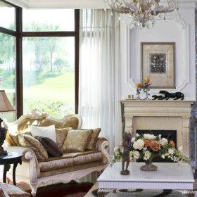 欧式客厅别墅窗帘装修案例