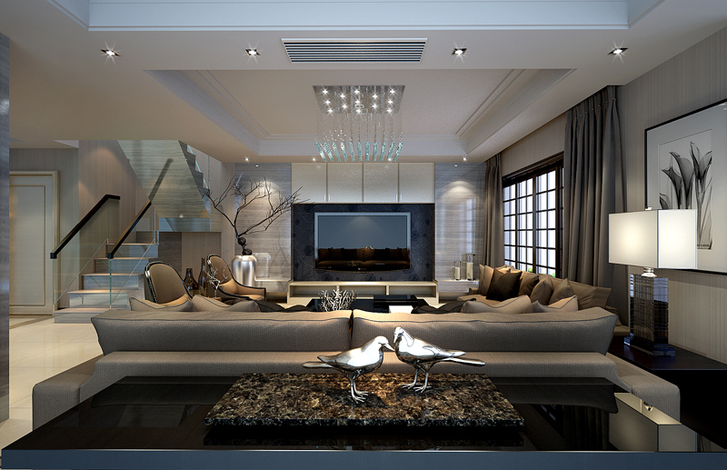 玻璃楼梯高端大气,风少爷家装复式大宅点名需求黑白灰