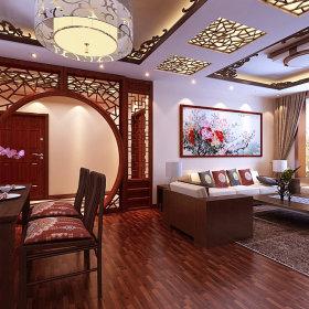 中式客厅单身公寓装修效果展示