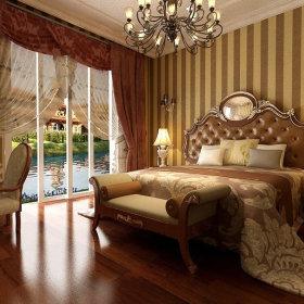 欧式卧室吊顶窗帘设计方案