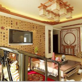 中式中式风格客厅三居效果图