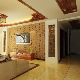 中式中式风格过道三居装修案例