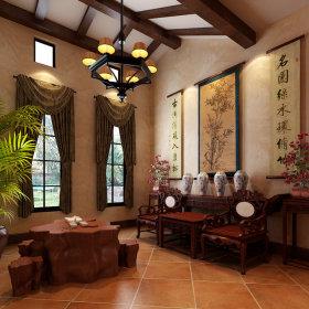 中式别墅吊顶窗帘图片