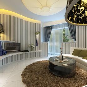 现代客厅一居室吊顶电视背景墙装修案例