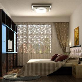 现代卧室吊顶窗帘效果图