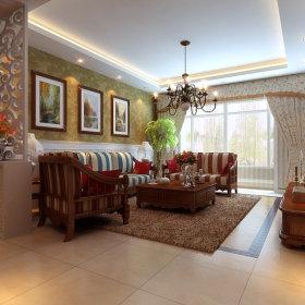 美式客厅吊顶窗帘效果图
