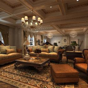 欧式客厅吊顶沙发效果图