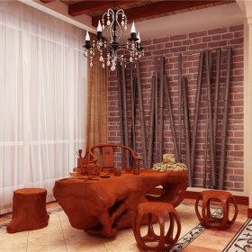中式别墅窗帘图片