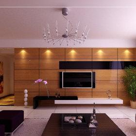 现代客厅跃层电视背景墙装修案例
