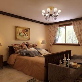 中式卧室吊顶窗帘装修图