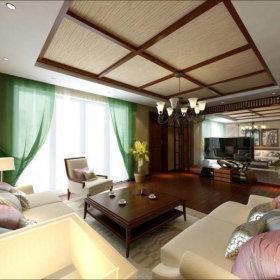 中式客厅窗帘设计案例