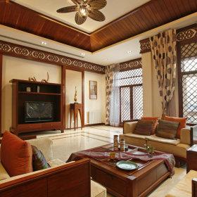 混搭客厅窗帘背景墙沙发灯具设计图