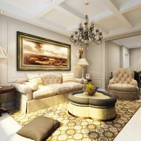 欧式客厅吊顶背景墙沙发客厅沙发设计方案
