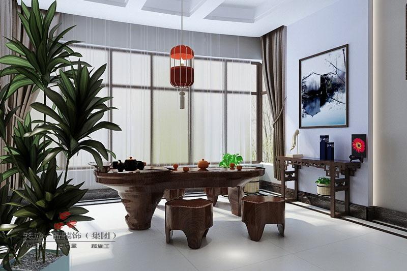 禅意大宅  中式风格电视背景墙装修效果图 中式风格休闲区装修效果图图片