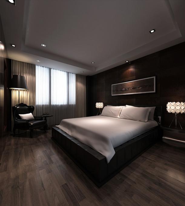 深褐色木板地板&吊顶&墙面 打造另类黑暗系现代居
