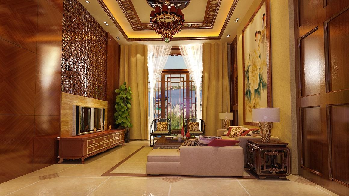 现代元素融入中式装修,屏风壁画装饰大气雅致空间,郑州某富豪之家效果图片
