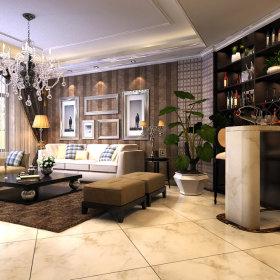 混搭典雅客厅吧台沙发酒柜茶几装修效果展示