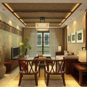 中式客厅窗帘装修图