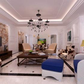 欧式客厅沙发单人沙发装修效果展示
