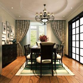 美式美式风格餐厅窗帘设计方案