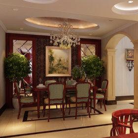 美式美式风格餐厅吊顶设计图