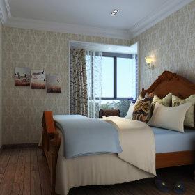 美式卧室窗帘电视背景墙装修效果展示