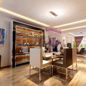 现代餐厅吊顶酒柜电视背景墙图片