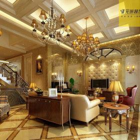 美式美式风格客厅吊顶电视背景墙设计案例