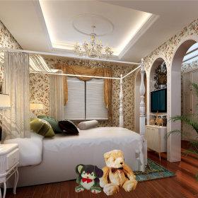 美式美式风格儿童房跃层吊顶电视背景墙设计方案