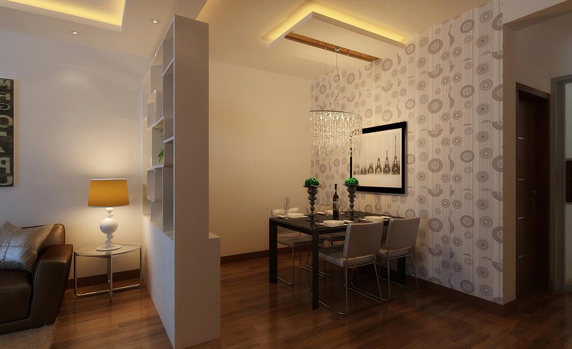 现代风格两居室装修,展示柜也能当隔断,海报沙发背景墙设计,时尚无处图片