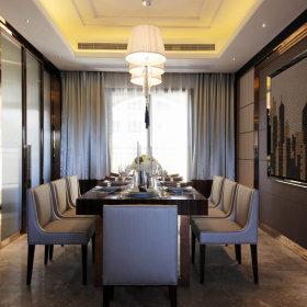 现代简约餐厅窗帘背景墙效果图