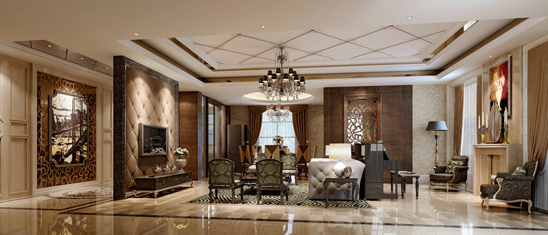 华丽欧式三居室,客厅大气软包电视背景墙图片