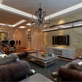 欧式客厅吊顶电视柜电视背景墙设计案例展示