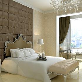 现代卧室吊顶窗帘设计案例