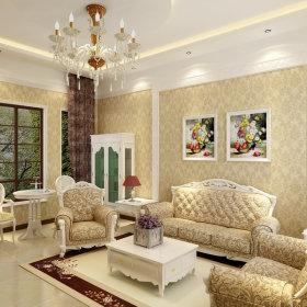 欧式田园田园风格客厅吊顶背景墙沙发客厅沙发装修图