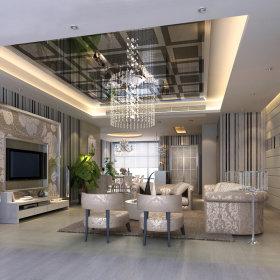现代客厅复式楼吊顶电视背景墙设计案例