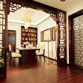 中式中式风格餐厅吊顶酒柜设计案例