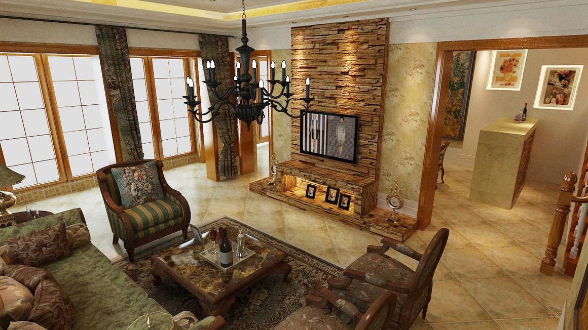 文化石层层垒砌,打造自然风电视墙&美式乡村别墅演绎怀旧的经典图片