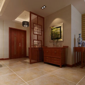 中式玄关玄关柜装修效果展示