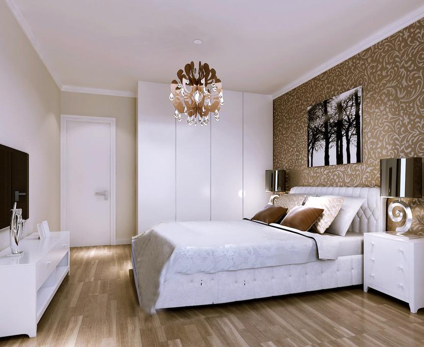 8万打造124平米现代居室,大气与雅致的壁纸融合,高贵典雅的水晶圆灯