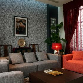 中式新中式客厅复式楼背景墙设计案例展示