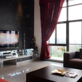 中式简约客厅复式楼电视背景墙案例展示