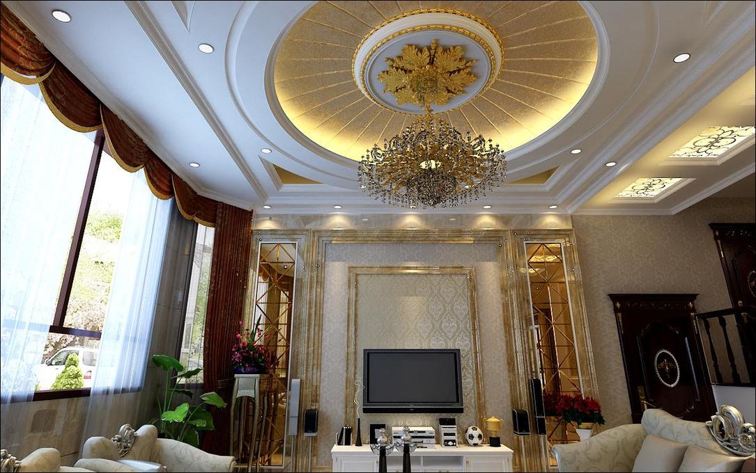 欧式地毯贴图素材 - 圆形欧式吊顶